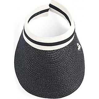 Mũ cói lưỡi trai nửa đầu chống nắng phù hợp đi chơi, đi biển (Màu đen)