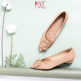 Giày Búp Bê Mũi Nhọn Chần Chỉ Gắn Khoá G Pixie X608