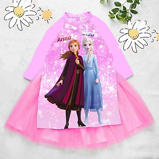 Áo dài cách tân cho bé gái hình Elsa từ 12-42kg. Vải phi lụa, chân váy ren có lót bên trong.