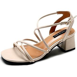 Giày cao đế bằng dây đan chéo thanh lịch-109 Kem