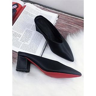 Giày cao gót bít mũi, hở gót cao 5cm ( sục )da mềm M5