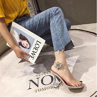 [ẢNH THẬT] Giày Cao Gót Nữ Gót Nhọn, Hở Mũi,  Đế Trong, Quai Trong, Khóa Cài Hình Hoa Lấp Lánh, Cao 9cm