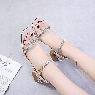 Giày / Sandal Cao Gót Nữ Đế Vuông 5P  Phối Cườm Tinh Tế- YUUNA007