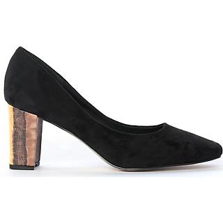 Giày cao gót nữ, cao 7CM, da lộn cao cấp êm ái. Mũi vuông, gót vuông vững trãi bọc da lộn đồng màu sang trọng và chắc chắn, thiết kế hiện đại: BL.P14405.7F