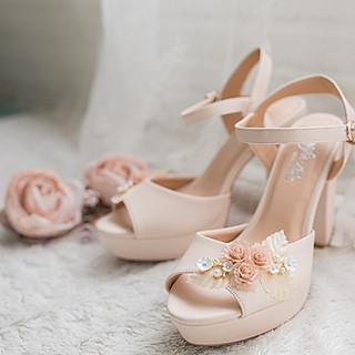 Giày cưới Nghé Art hoa nude 284