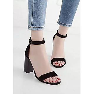 Giày Cao Gót Sandal Quai Bản Màu Đen CT001