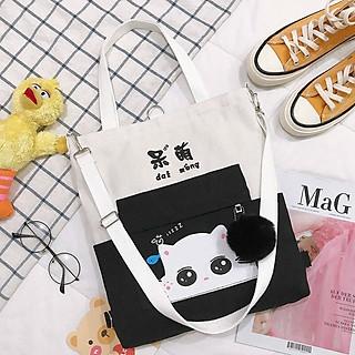 Túi xách tote vải Túi Tote Túi Vải Nữ Túi Đeo Chéo Hàn Quốc Mèo lười