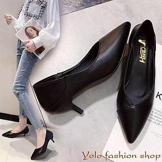 Giày cao gót nữ da mềm gót nhọn dẫm gót 5cm hàng Quảng Châu cao cấp CC01