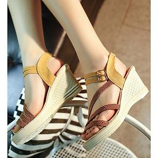 Giày Sandal Nữ Đế Suồng 7P Quai Cói - Đen