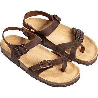 Giày Sandal Uinsex Xỏ Ngón Da Bò Nâu Đế Trấu HuuCuong