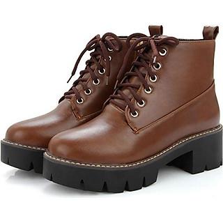 Boot nữ cổ ngắn cột dây đế thô màu nâu sành điệu GBN0303