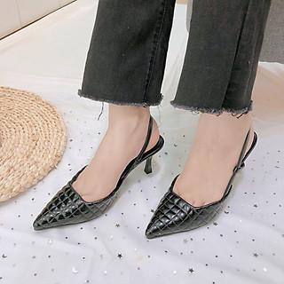 Sandal Nữ Bít Mũi Chần Chỉ Hậu Thun Gót Nhọn 7P