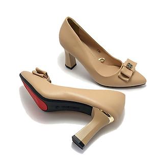 Giày cao gót ZAHAN 7cm, nơ BB CGZA803