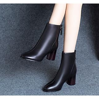 Giày Bốt Nữ Cổ Lửng Đế Vuông 7cm Da PU Mã H90