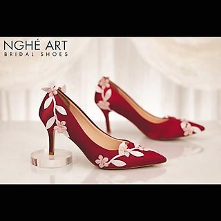 Giày cưới Nghé Art satin đỏ lá 308