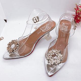 Sandal Cao Gót Nữ Đẹp/ Giày Cao Gót Nữ Đẹp Bít Mũi Phối Lúa  Chất Da  MICA Mềm Đế Vuông Cao Cấp Cao 7 Cm Phong Cách Hàn Quốc.