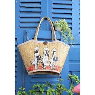 Túi xách cỏ bàng thời trang hình lượn sóng