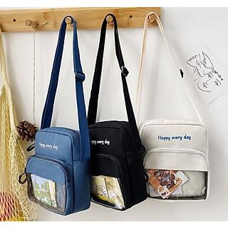 Túi Vải Canvas Đeo Chéo Phong Cách Hàn Quốc Happy PK 455