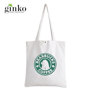 Túi Vải Tote GINKO Kiểu Basic Nút Bấm In Hình BearBucks