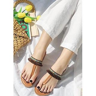 Giày Sandal Thổ Cẩm Tua Rua Xỏ Ngón