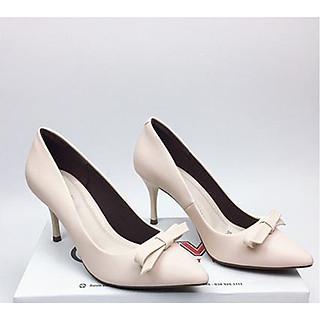 Giày cao gót da mềm cao cấp nơ xếp nhọn 7cm màu trắng sữa