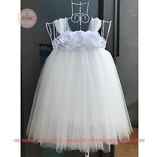 Đầm công chúa cho bé ️️ Đầm công chúa trắng hoa hồng trắng - váy 10020