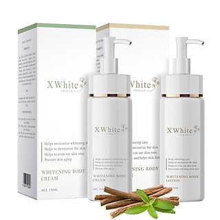 Bộ tắm trắng toàn thân an toàn Xwhite dạng vòi nhấn gồm 1 chai ủ trắng 150ml & 1 chai dưỡng trắng 150ml