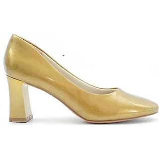 Giày Cao Gót 6cm Đế Vuông Da Bóng Mũi Vuông Màu Nhũ Chì Pixie P291