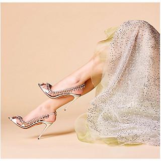 Giày cao gót nữ hở mũi Mika trong suốt viền đá giọt nước cao cấp  - Giày nữ gót cao 10cm - Linus LN284