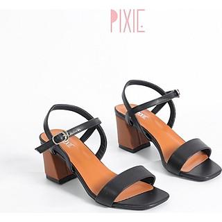 Giày Sandal Cao Gót 6cm Đế Vuông Mix Nhiều Màu Màu Đen Pixie X467