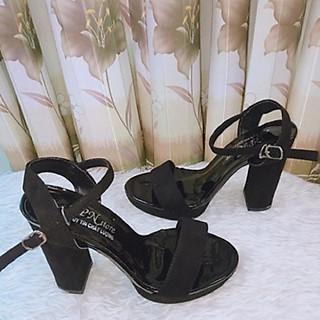 Giày Cao Gót Nữ Thời  Trang Đế Đúp  Vuông 12 Phân Quai Ngang Hở Mũi, Phong Cách Hàn Quốc SEE-PN02