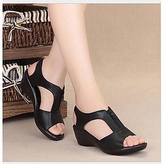 Dép sandals da nữ DK.6 Đen