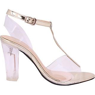 Giày Nữ Gót Vuông 2 Dây Mozy MZSD035.1 - Vàng Đồng