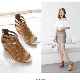 Giày sandal đế xuồng nữ quai đan chiến binh cao cấp - Giày đế xuồng nữ cao 5cm - Giày nữ da mềm 3 màu Đen - Kem - Nâu - Linus LN261