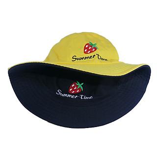 Mũ bucket nam nữ thời trang đội được 2 mặt độc đáo Summer Time thêu hình quả dâu tây đẹp mắt