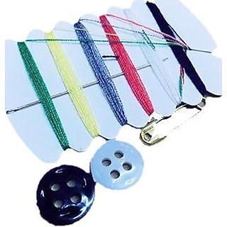 Bộ kim chỉ 6 màu khâu Patch ủi sticker vải kèm nút áo và kim băng