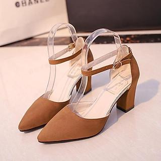 Giày sandal cao gót vuông da lộn loại đẹp