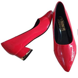 Giày cao gót bít mũi đế vuông 3cm Trường Hải da bóng màu đỏ thời trang cao cấp CG0121