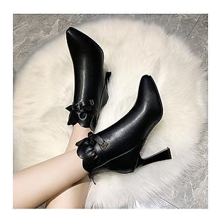 Giày boot nữ da trơn cao 9cm phong cách Hàn Quốc B147
