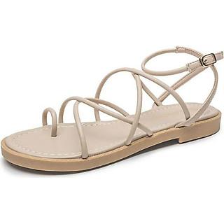 Giày Sandal Nữ Xỏ Ngón Chéo Dây Tròn Rosa - Kem