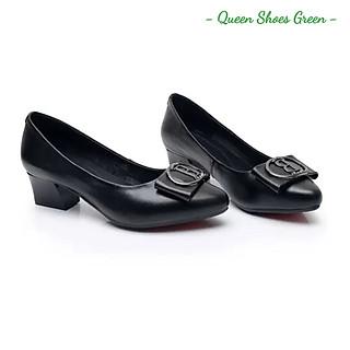 Giày búp bê nữ công sở đính nơ cao cấp, giày trung niên nữ gót vuông 4 phân mũi nhọn da mềm hàng VNXK màu đen đế cao su đúc siêu mềm tôn dáng lót êm ái size 36 đến 40 - Cam kết hàng chất lượng - Nơ B đen 4 phân
