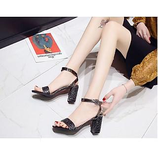Giày nữ cao gót 7cm đẹp kim tuyến hở đầu đế vuông màu đen
