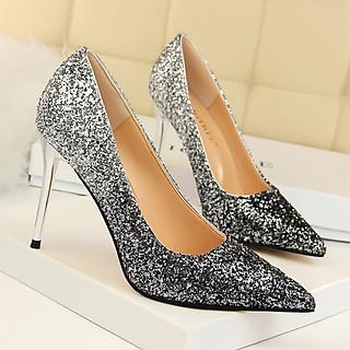 giầy cao gót 9cm mũi bạc gót đen ánh kim