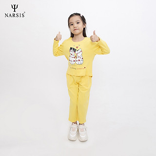 Bộ thu đông bé gái Narsis KM0026 màu vàng chất Cotton (cho bé từ 4-8 tuổi)