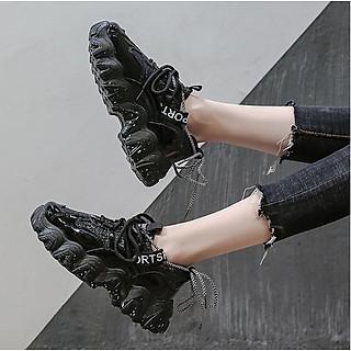 Giày Nữ Thể Thao Vảy Sơn, Ánh Nhũ Màu Đen Cực Đẹp