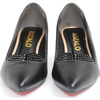 Giày cao gót vuông 5P đính đá Rozalo R5605