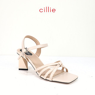 Giày sandal nữ đan dây gót trụ cao 6cm Cillie 1227