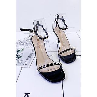 Giày Sandal Cao Gót 7p Gót Nhọn Quai Trong Gắn Đinh