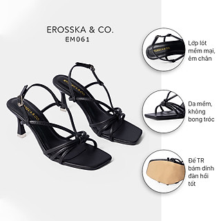 Giày sandal cao gót Erosska thời trang mũi vuông phối dây quai mảnh tinh tế cao 7cm EB028
