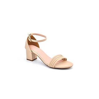 Giày Sandal nữ- quai ngang, đế trụ bít gót 6p sang trọng- 2 màu ĐEN KEM PABNO -BH 12 Tháng- PN12014